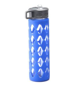 Glass Water Bottle with Silicone Sleeve - Blue