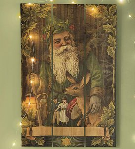 Handcrafted Holiday Cedar Wall Plaques by Gizaun Art™ - Forest Santa