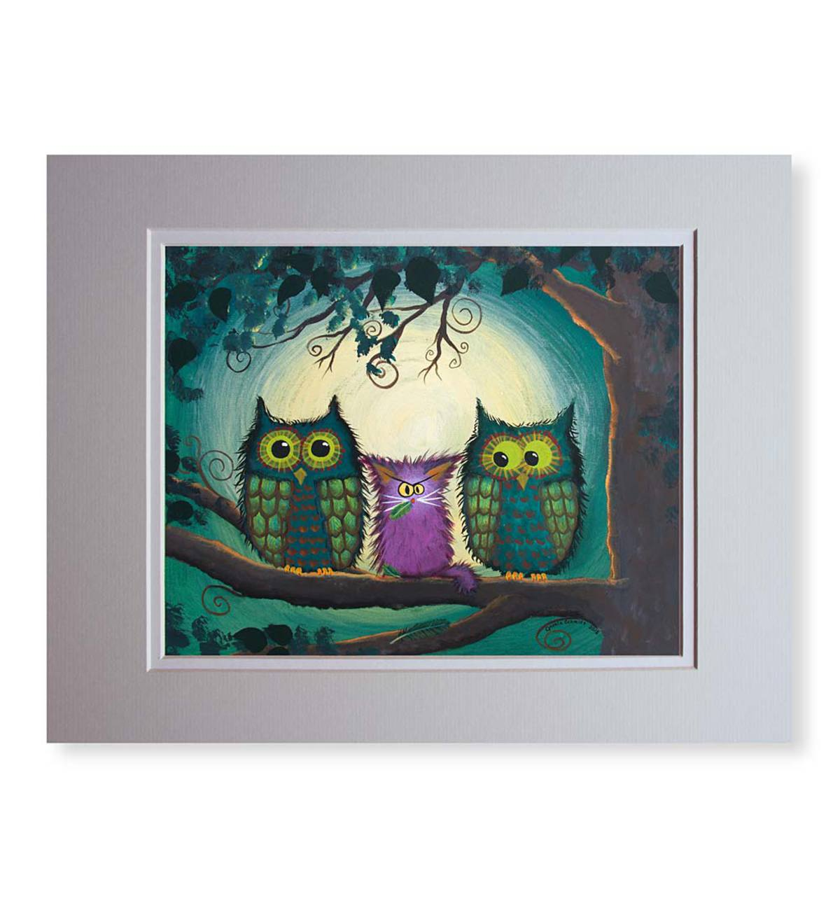 Cranky Cats™ Nervous Owls Matted Print