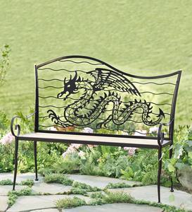 Wood and Metal Dragon Bench
