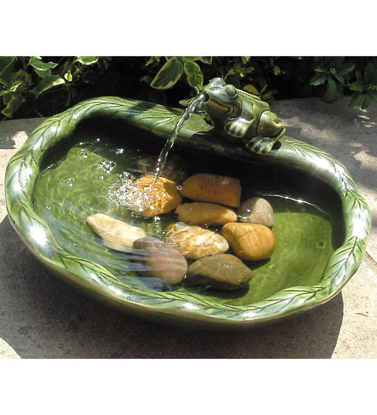 Glazed Green Ceramic Solar Frog Spouting Fountain