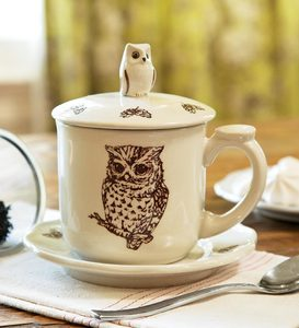 Owl Bone China Covered Teacup And Saucer