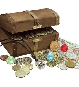 Kid's Treasure Chest with Replica Pirate Coins and Gems