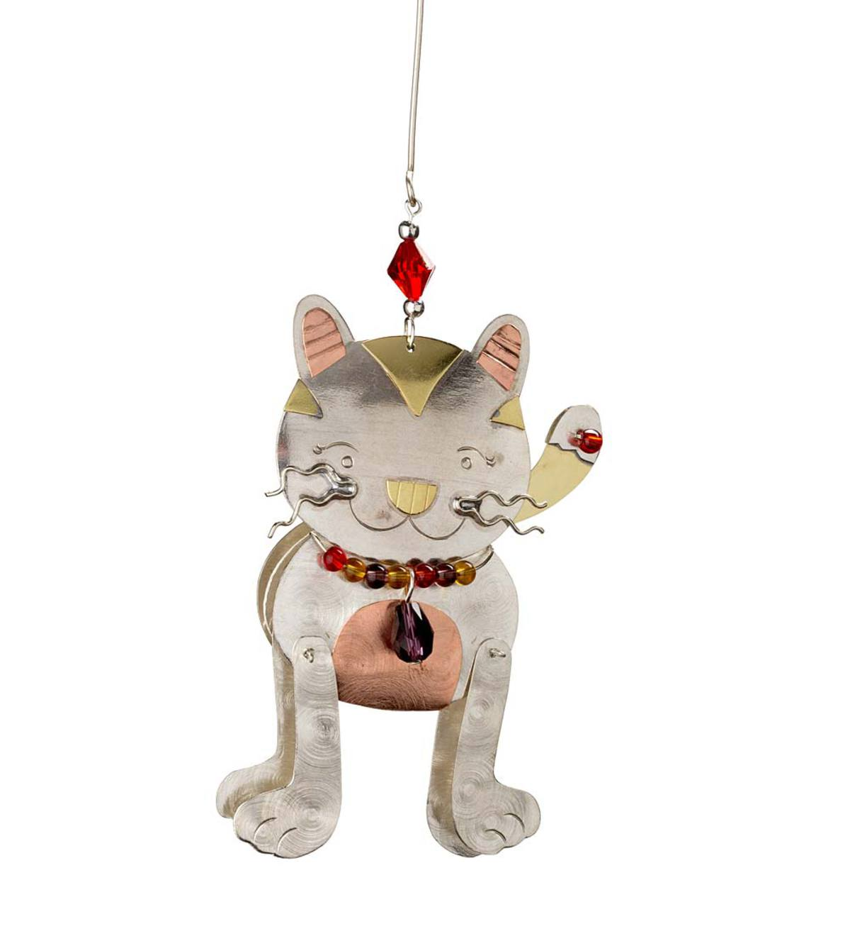 Doodle Cat Tri-Metal and Beads Ornament