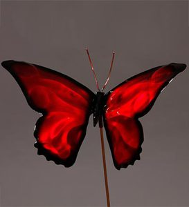 Colorful Butterfly Garden Stake - Red