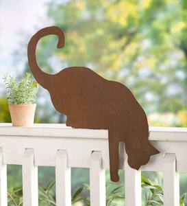Cat Metal Sculpture Fence Topper
