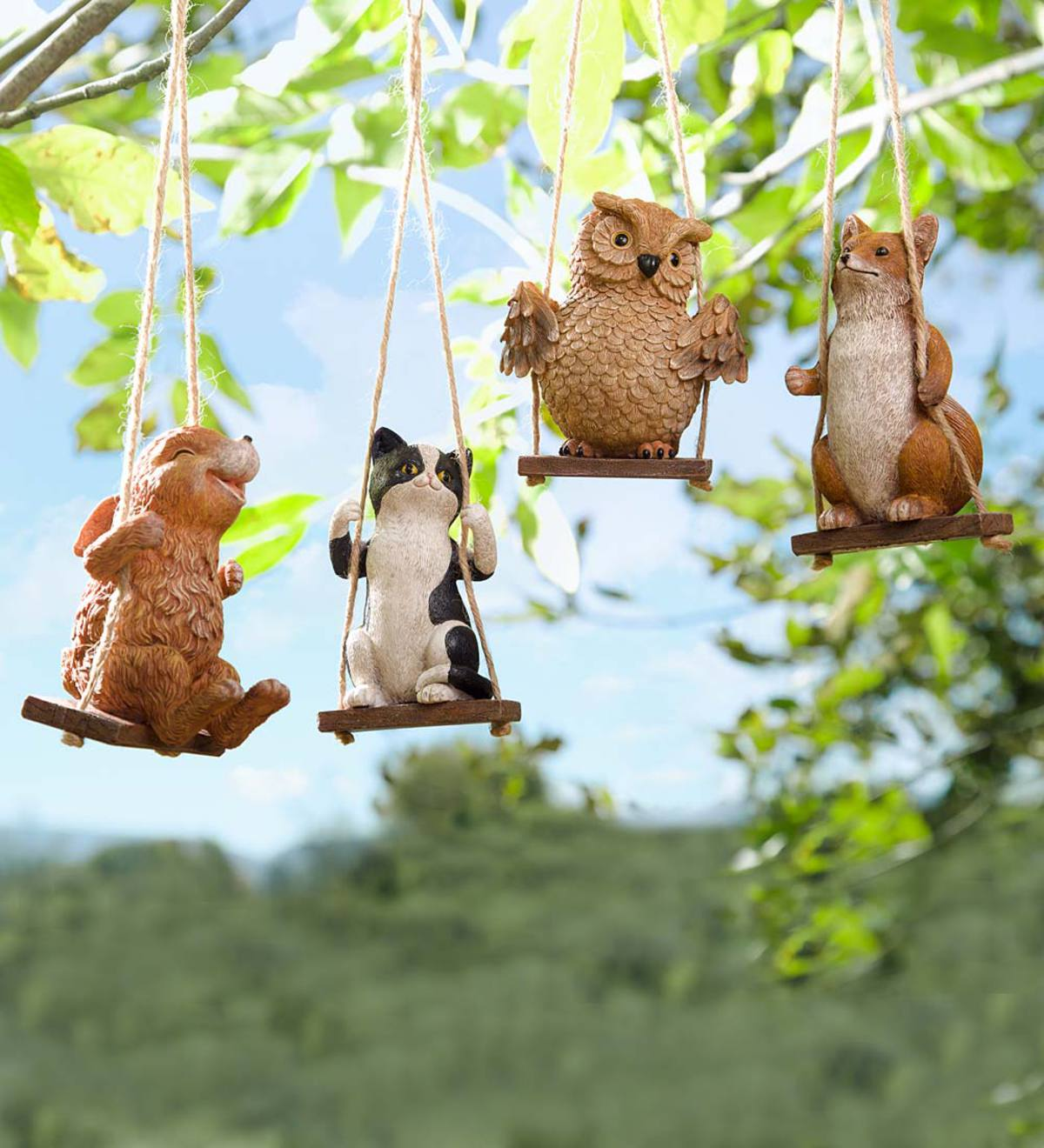 Baby Animals on Swings Garden Accents, Set of 4