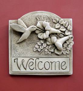 Hummingbird Welcome Wall Plaque by Carruth Studio