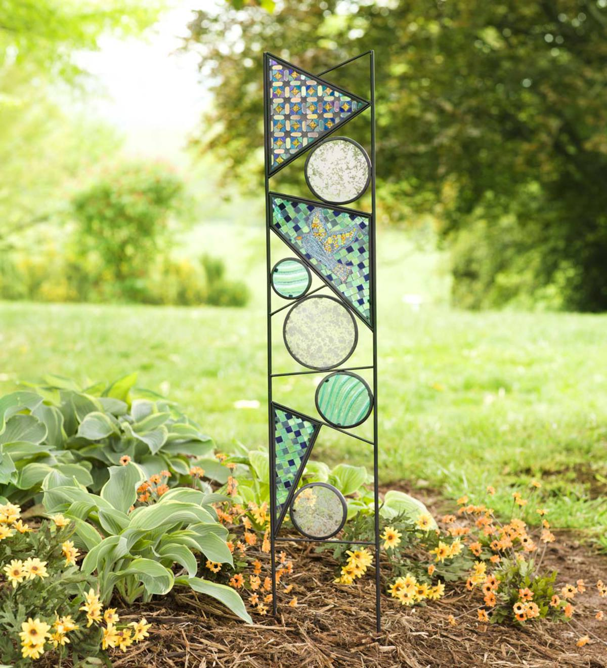 Geometric Glass Stake with Jeweled Bird
