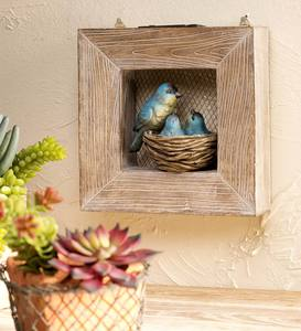 Solar Bluebird and Babies Framed Wall Art