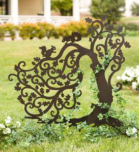 Tree with Squirrels Silhouette Garden Stake