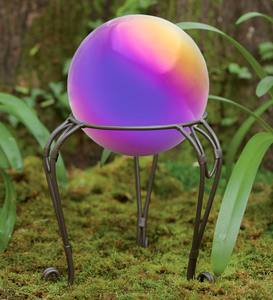 Rainbow Steel Gazing Ball with Metal Stand
