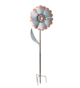 Large Metal Verdigris Flower Stake