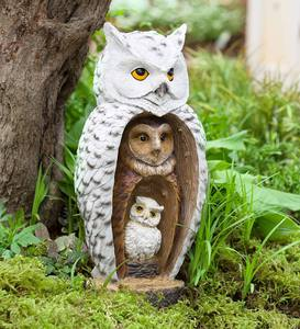 Stacked Owl Family Sculpture