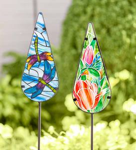 Painted Glass Garden Stake - Dragonfly