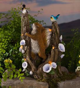 Solar Squirrel in a Tree Sculpture