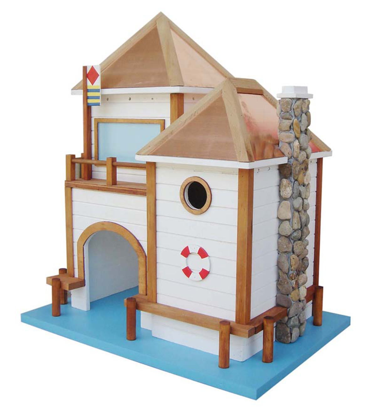 Wood Two Story Beach Birdhouse