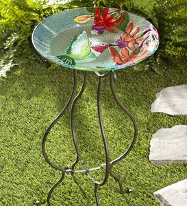 Glass Hummingbird Birdbath and Stand