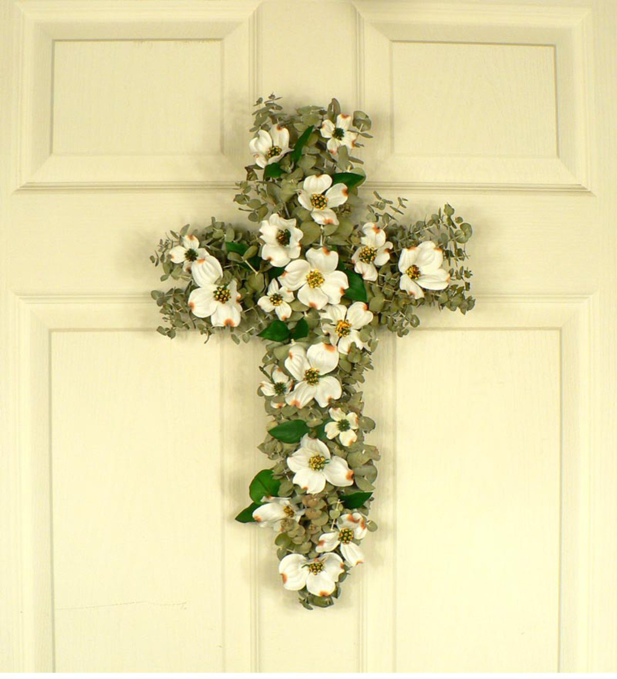 Silk Dogwood Blossom And Dried Eucalyptus Cross