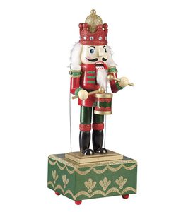 Wooden Musical Nutcracker Statue - Red Base