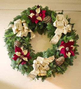 Handmade Fresh Christmas Wreath with Gold Bows