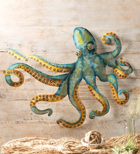 Handcrafted Metal Octopus Wall Art