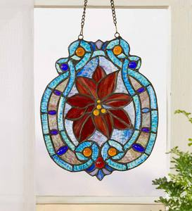 Poinsettia Stained Glass Panel