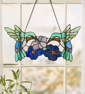 Hummingbird Pair Stained Glass Panel
