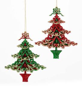 Christmas Tree-Shaped Ornaments, Set of 2
