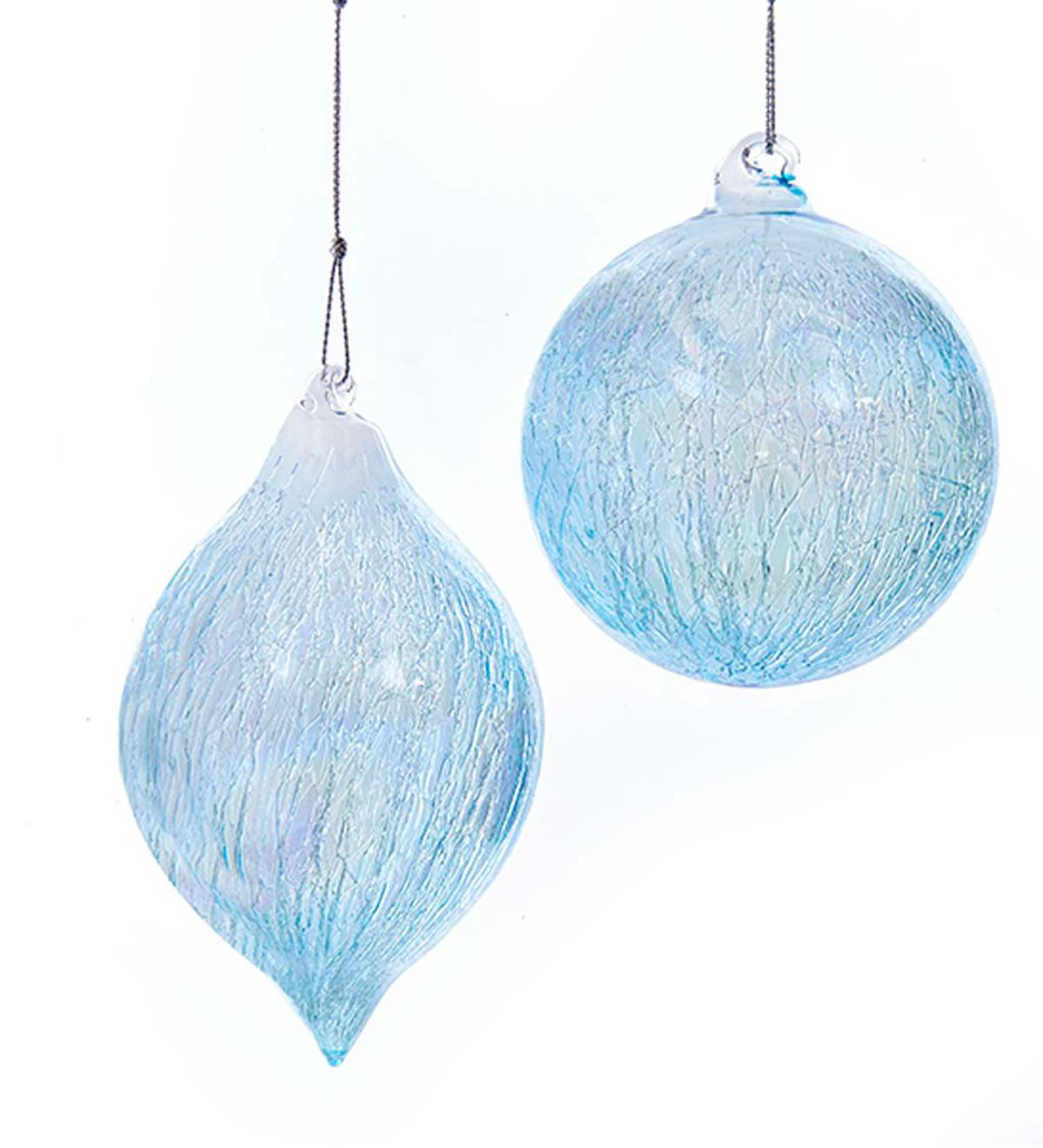 Ball and Finial Glass Ornaments, Set of 2