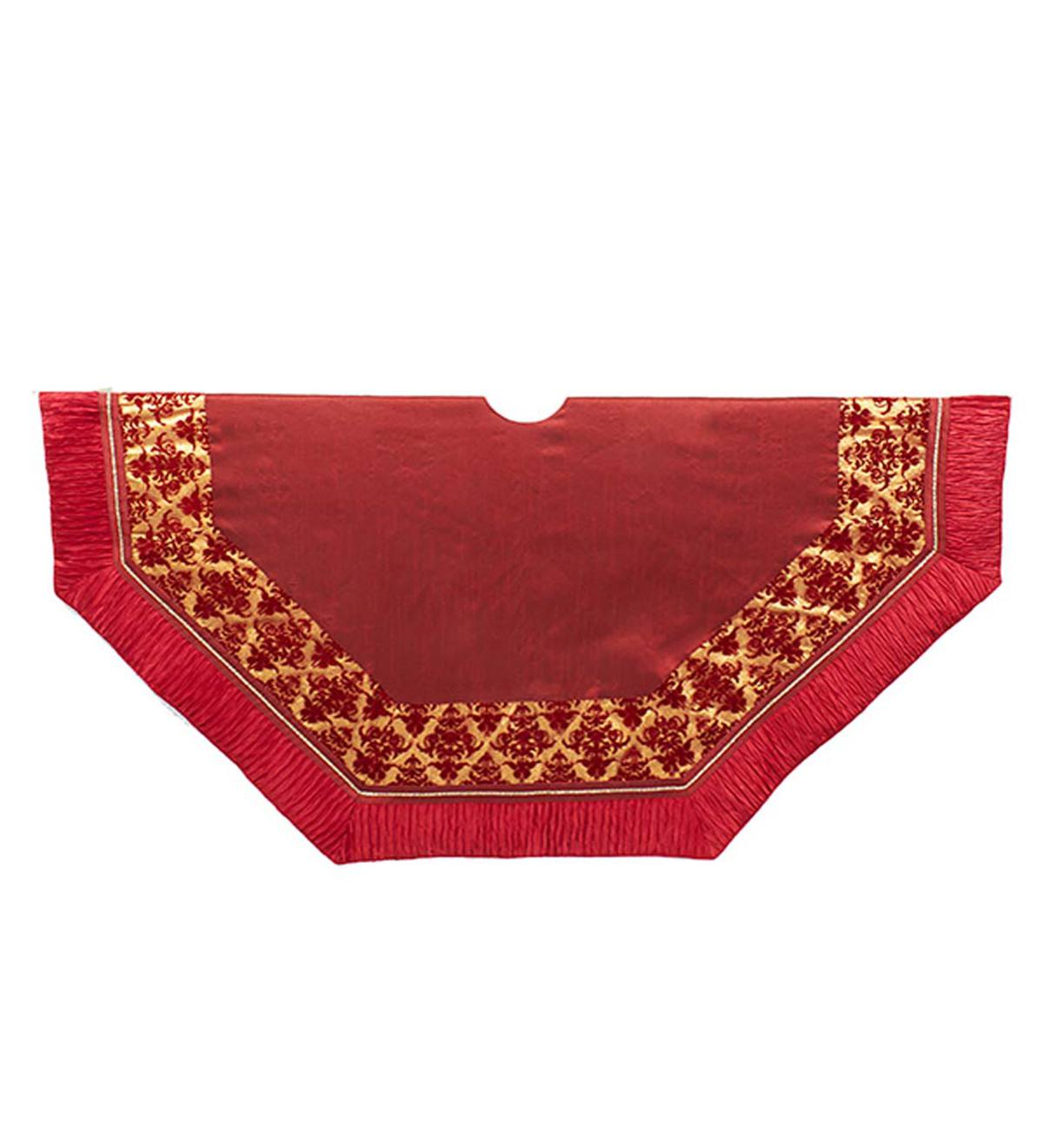 Burgundy and Gold Tree Skirt