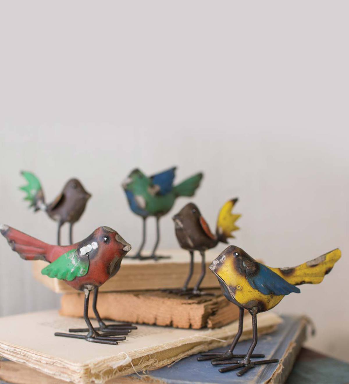 Recycled Metal Birds, Set of 5
