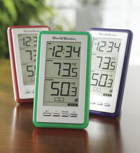 Large-Digit Indoor/Outdoor Color Spot Thermometer and Clock