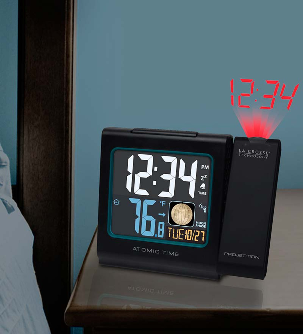 Atomic Projection Alarm Clock with Moon Phase by La Crosse Technology®