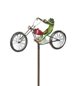 Frog Riding Motorcycle Metal Wind Spinner
