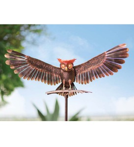 Bronze Owl Metal Yard Sculpture