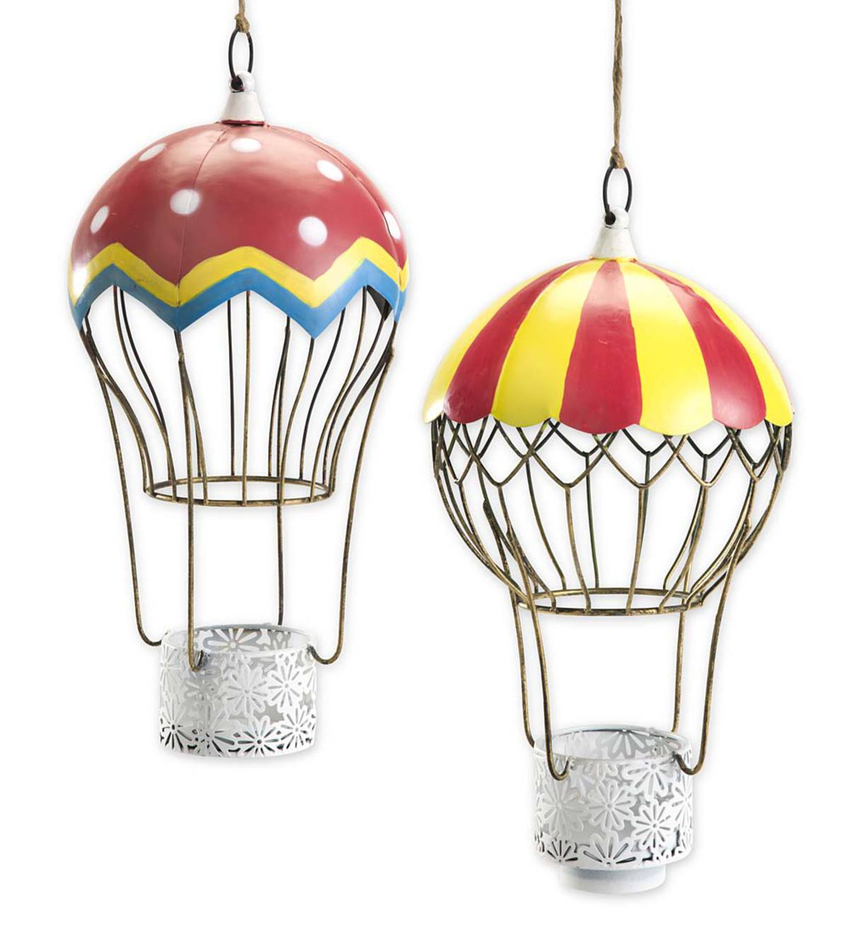 Unique Metal Hot Air Balloon Candle Holders, Set of 2 | Wind and Weather NQ49