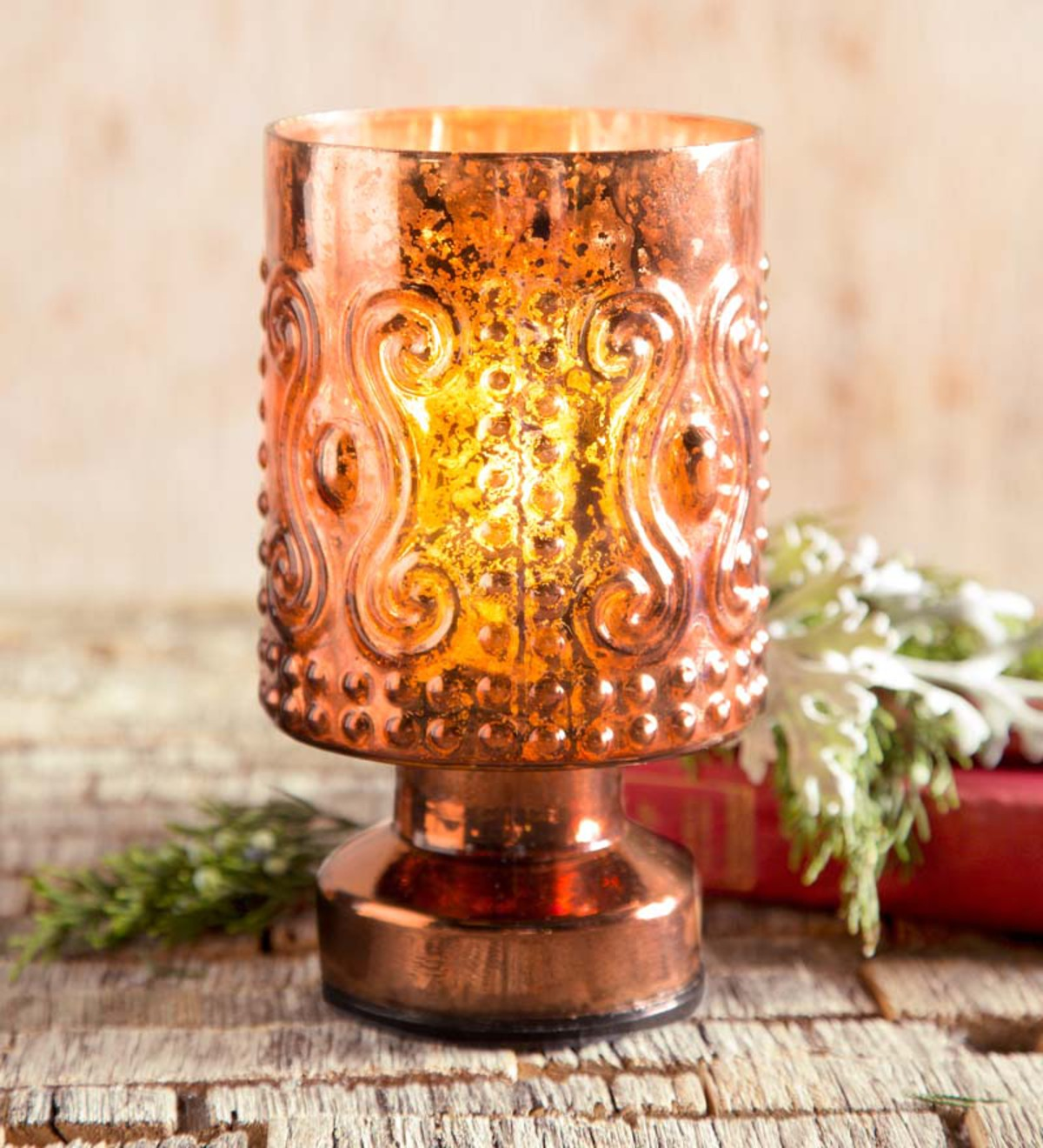 Copper Embossed Glass Hurricane with LED Light