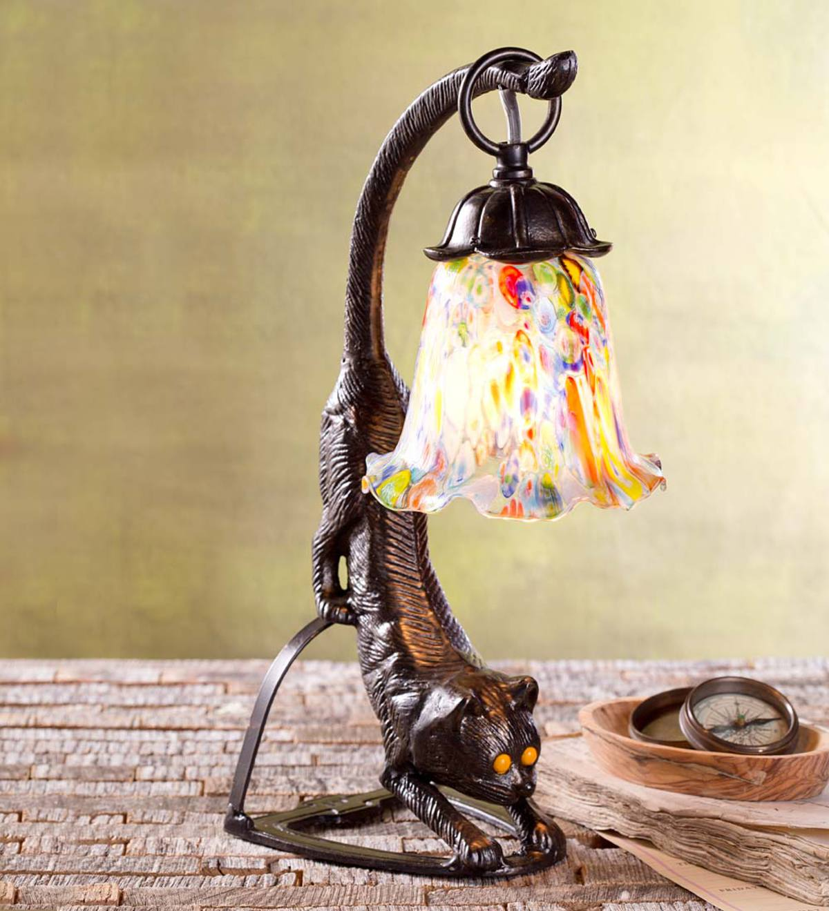 Cat Table Lamp with Millefiori Shade