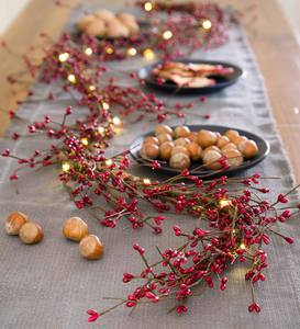 LED-Lighted Berry Branch Garland - Red