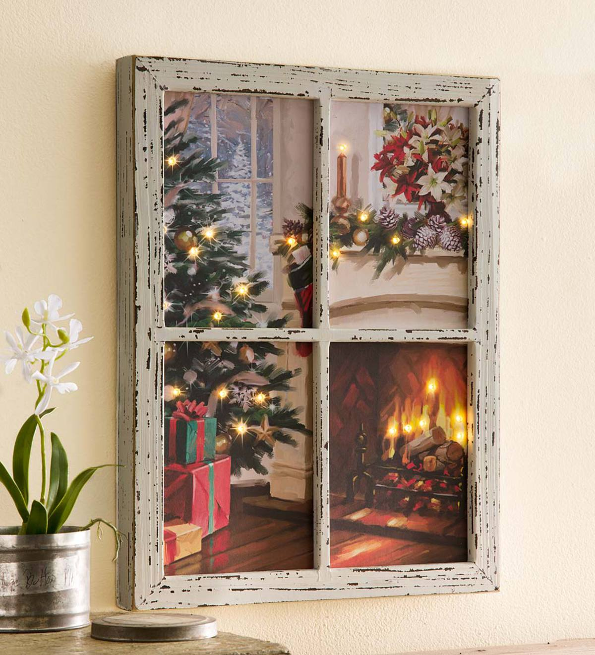 LED-Lighted Christmas Window Wall Art