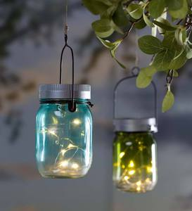 Solar Mason Jar Lights, Set of 2