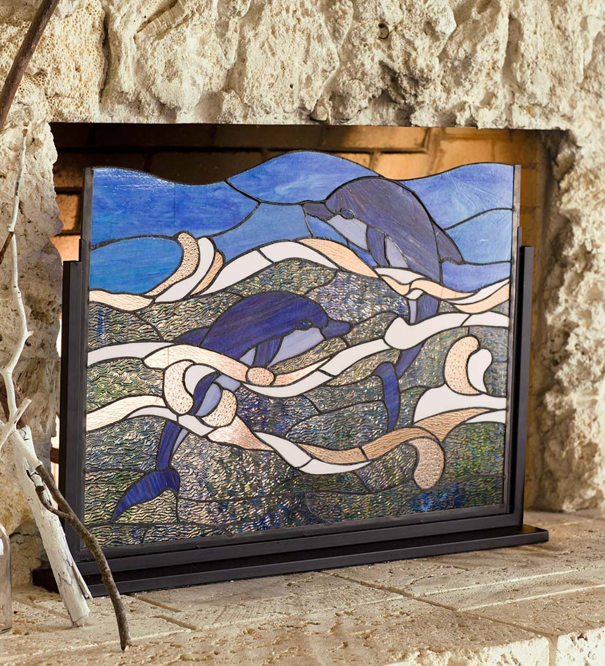 Stained Glass Dolphin Fireplace Screen