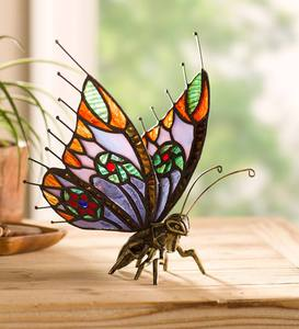 Metal and Stained Glass Butterfly
