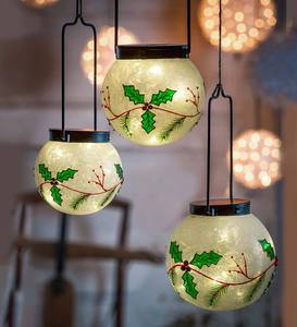 Large Lighted Holly Globes, Set of 3