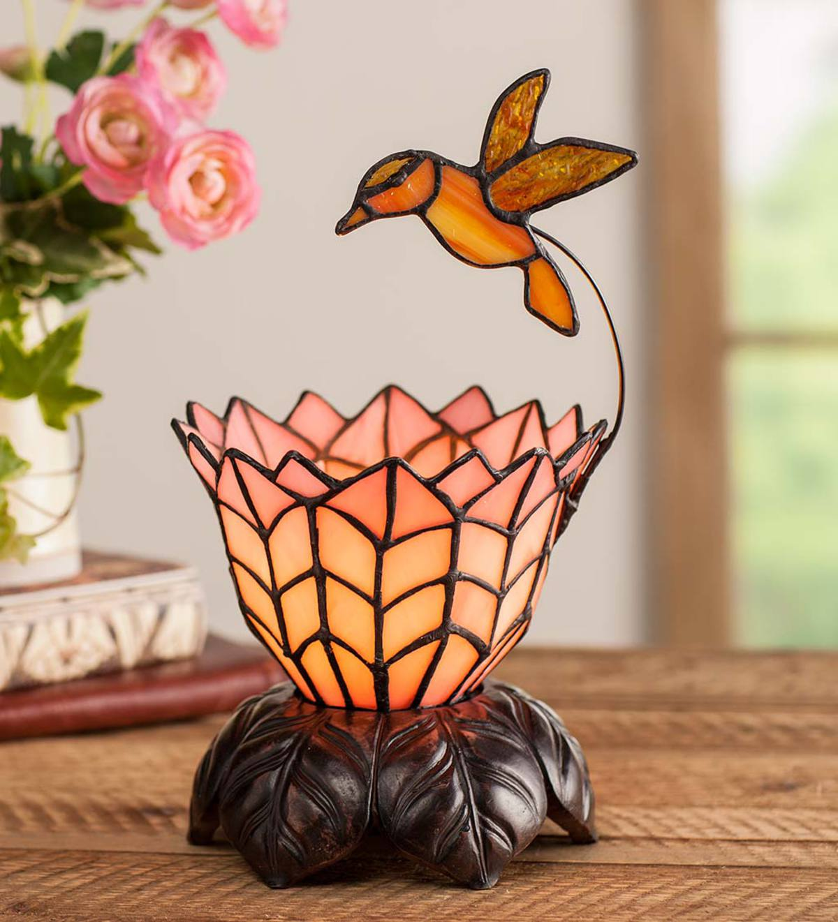 Hummingbird and Flower Stained Glass Lamp