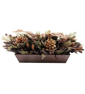 Copper Cedar and Pinecone Table Arrangement