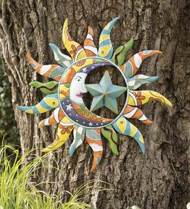 Metal Talavera Sun, Moon And Star Wall Art