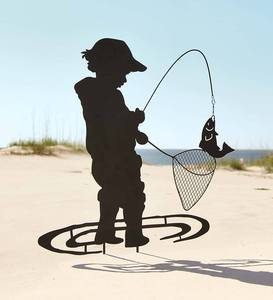 Boy Fishing Garden Stake