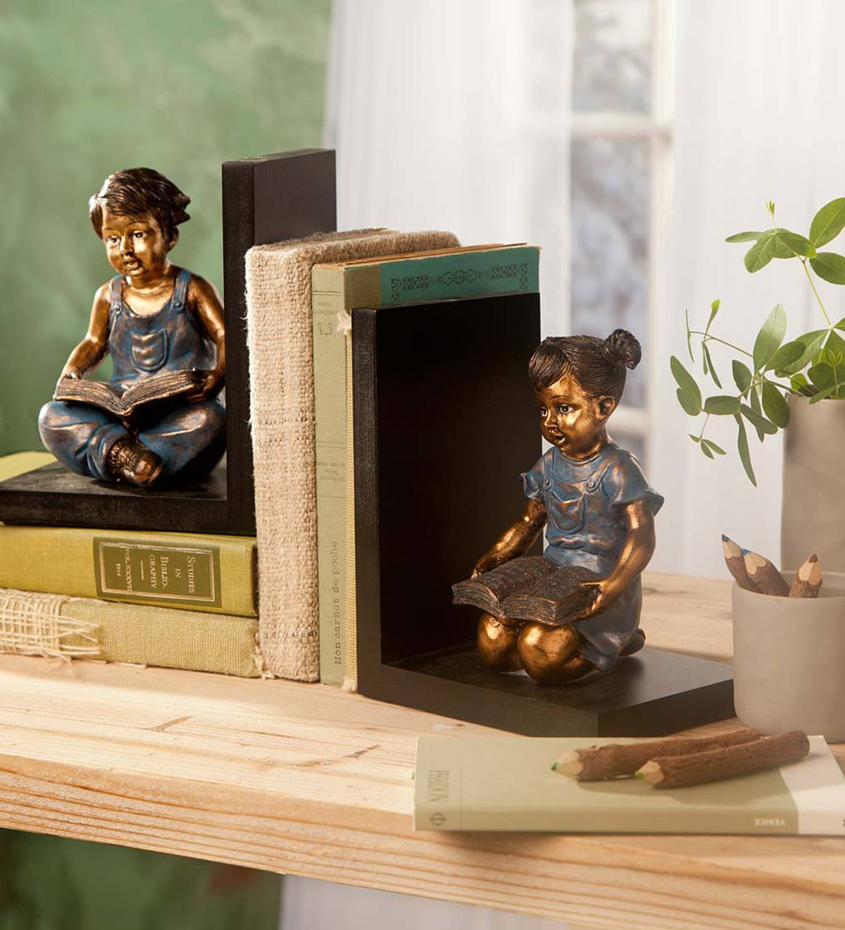 Seated Children Bookends